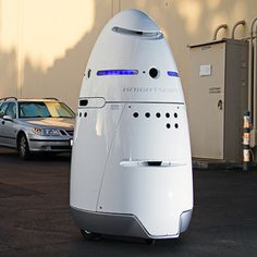 The K5 security robot.  Knightscope's Autonomous Robots Will Take on Security Jobs Normally Held by Humans | MIT Technology Review
