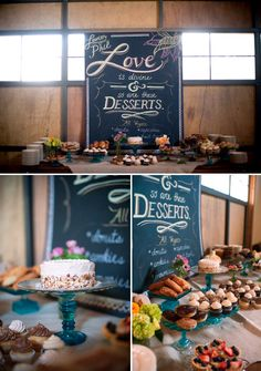 Gorgeous dessert table with chalboard sign, photo by Nate and Jenny Weddings | junebugweddings.com