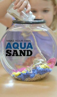 Make your own aqua sand- this stuff is SO COOL! You can build underwater castles and sea sculptures, and the sand comes out of the water DRY. (also links to other cool sand stuff like glow in the dark or sand slime) Science Experiments Kids, Science Projects, Projects For Kids, Diy For Kids, Crafts For Kids, Science Crafts, Art Projects, Sensory Activities, Sensory Play