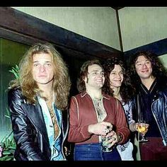 Van Halen, during theirfirst world tour... sipping cocktails