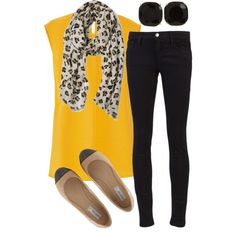 Reminds me of sunshine. The scarf adds pizzazz and the flats are darling:)