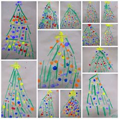 Festive Trees. Kindergarten. Printmaking with a cardboard tool and using your fingers for the ornaments.