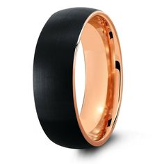 Black brushed tungsten wedding band with a high polish rose gold interior. The perfect modern mens tungsten wedding band. Black top and rose gold interior.