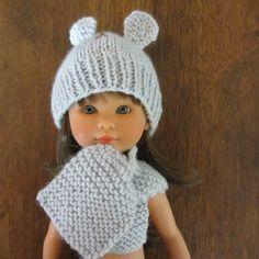 Bonnet et écharpe petit nounours gris pour petite poupée, tour de tête 19 cm