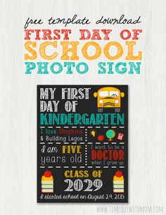 15 Back to School Printables What a cute idea! 15 Back to School Printables perfect for saving those school time memories! Diy Back To School, 1st Day Of School, Beginning Of School, School Fun, School Days, School Stuff, Starting School, Back To School Printables, School Template