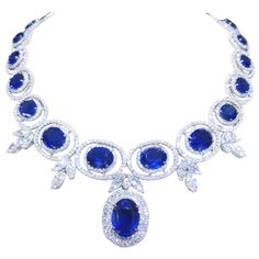 Stunning Sapphire and Diamond Necklace   From a unique collection of vintage drop necklaces at 1stdibs.