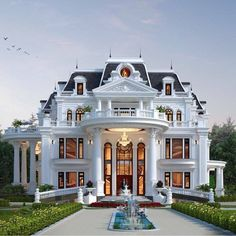 Village House Design, Bungalow House Design, House Front Design, Design Your Dream House, Luxury Homes Exterior, Luxury Homes Dream Houses, Luxury House Plans, Dream House Exterior, House Architecture Styles