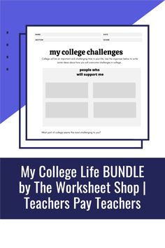 My College Life Bundle includes two activities that students will complete in order to develop higher-level thinking about their college careers. College Majors, College Life, College Admission Essay, College Planning, Easel Activities, Life Challenges, Teacher Newsletter, Higher Education, Teacher Pay Teachers