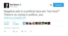 The best jokes, tweets and memes reacting to the first presidential debate between Donald Trump and Hillary Clinton.: Bill Maher's on Trump's Complaint About Negative Ads