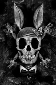 Skull with bunny ears