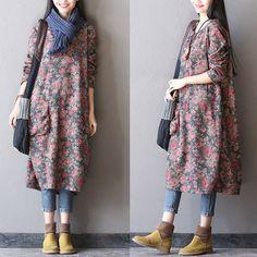 Women spring cotton dress – Tkdress – 1 – Linen Dresses For Women Designer Kurtis, Indian Designer Suits, Modest Fashion, Hijab Fashion, Fashion Dresses, Linen Dresses, Cotton Dresses, Mode Simple, Style Minimaliste