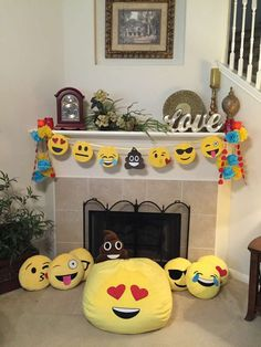 How fun is this emoji birthday party! See more party ideas at CatchMyParty.com!