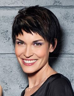 A short brown straight choppy chestnut healthy Womens haircut hairstyle by Coiff