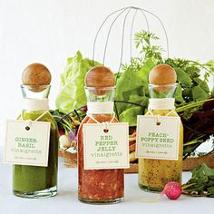 Vinaigrette Gift Tag   Give the gift of a well-seasoned salad with these Vinaigrette's with custom gift tags.   SouthernLiving.com food gifts, dressing recipes, fresh vinaigrett, salad dressing recipe, pepper jelli, sauc, pepper jelly, fresh spring, vinaigrette