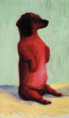 "generic-art-gallery: ""David Hockney ~ Dog Days, oil on canvas "" David Hockney Art, David Hockney Paintings, Art And Illustration, Michael Sowa, Pop Art, Peter Blake, Arte Dachshund, Dog Paintings, Cultura Pop"