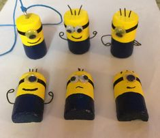 Wine Cork Minions: Necklace, Figurines & Magnets