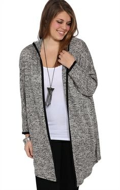 Deb Shops Plus Size Long Sleeve Hoodie Cardigan with Black Trim $17.43