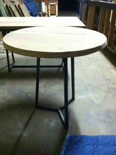 "30"" round reclaimed wood bistro style table with square tube base design     http://HillcrestDecor.com"