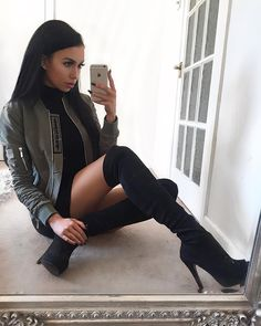 "Scarlett J Ellis on Instagram: ""Black Friday #OOTD // Boots @misspap reduced to £30 // Khaki Bomber @manieredevoir """