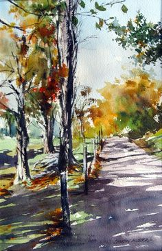 shade in autumn.41x31 c/m. watercolour. sold.. From a photo reference- stressing the vivid bright golds of Autumn- and keeping a light feeling around the whole painting.