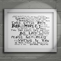 Bob Marley Exodus limited edition typography lyrics art print, signed and numbered wall art poster available from www.lissomeartstudio.com