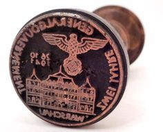 1 Of 2 - NAZI GERMAN GENERAL GOVERNMENT WARSAW WAX SEAL RUBBER STAMP...