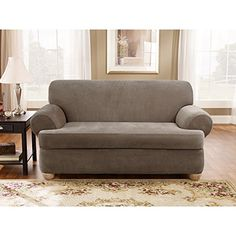sure fit stretch pique tcushion loveseat slipcover