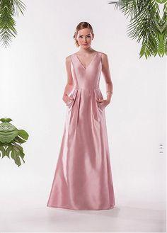 3d28118e87 Magbridal Chic Taffeta   Lace V-Neck A-Line Bridesmaid Dresses