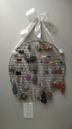 DIY Earring Storage - round grill grate and ribbon