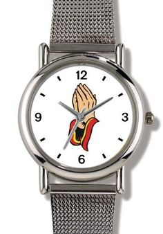 Hands in Prayer Christian Theme - WATCHBUDDY® ELITE Chrome-Plated Metal Alloy Watch with Metal Mesh Strap-Size-Small ( Children's Size - Boy's Size & Girl's Size ) WatchBuddy. $79.95