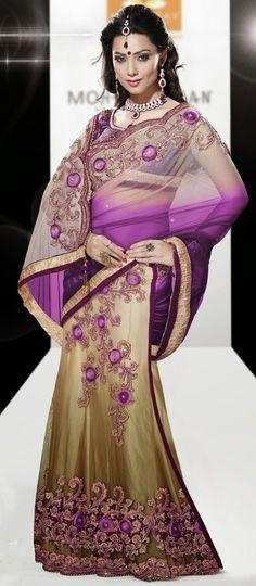 USD 104.48 Purple Faux Georgette Wedding Lehenga Saree 42460