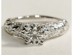 This would be perfect with a ruby center!    eiros™ Hearts Round Cut Diamond Engagement Ring in 14k White Gold #BlueNile