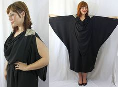 80s does 30s - gatsby style sequined black cocktail caftan dress  $64