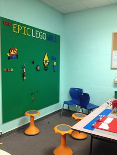 Yesterday I wrote about everything that led up to us creating our Epic Library LEGO Wall - check out the post here. Today is going to be more of a how-to. I& had many, many people ask me. Lego Furniture, Minecraft Furniture, Lego Wall, Library Design, Library Ideas, Children's Library, Library Lessons, Lego Room, Classroom Design