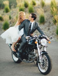 bride and groom exit on motorcycle