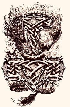 Image result for thors hammer tattoo with axes