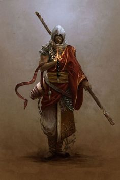 Qadesh in the desert - a cleric of Sarenrae, the very picture of peace and tranquility amidst the storm.