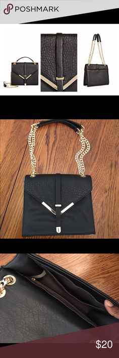 """Black Crossbody Bag A classic never goes out of style with this purse, a shoulder bag you'll carry with you wherever you go. It features a chain leather strap, an envelop snap closure, and a pebbled detail flap. Great for date night or a night out with ya girls. In like new condition only worn once. 🚫No Trades  Bag Size: 10L x 8.5H x 3D Shoulder drop measurement : 11.5"""" - 21"""" Pockets: 1 Interior Pocket, 1 Interior Zip. JustFab Bags Crossbody Bags"""