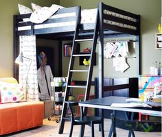 Teenager's bedroom with a loft bed and DIY storage