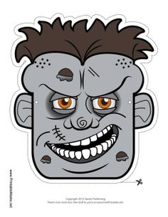 If you're a fan of zombie movies, you'll love this classic zombie mask. This gray zombie has a big skull, open wounds, and scars on his face. Free to download and print