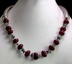 (SKU NO:464ct) Natural Red Ruby Designer Beads Necklace Cabochon Shape.