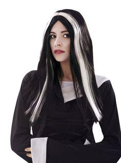 Perruque noire et blanche de sorcière femme