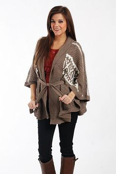 """Tribal Kimono Cardigan, Mocha $41.00  This thick knit cardigan is right on trend! Thanks to the print and waist tie, we cannot get enough of this piece. Just add a solid colored tank underneath and out the door you go!   One size fits all.   From shoulder to hem: 31"""""""