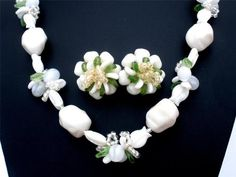 Vintage Glass Bead Tulip Set Necklace Earrings White Green Western Germany | eBay