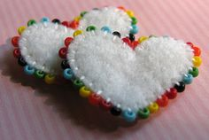 Tiny Embroidered and Beaded Heart Beads Felt Embroidery, Felt Applique, Fabric Crafts, Sewing Crafts, Felt Decorations, Valentine Crafts, Valentines, Heart Crafts, Felt Christmas Ornaments