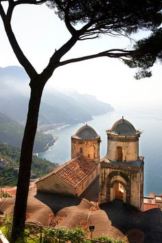 The Bell towers of Our Lady of The Anunciation church viewed from Villa Ravello, Amalfi Coast, Italy