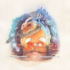 Howl's Moving Castle Calcifer 11 x 11 Print (10.00 USD) by devilsbakery