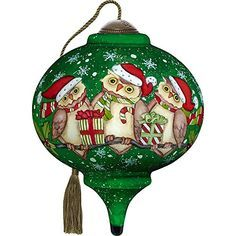 Christmas glass owl baubles SALE NOW REDUCED boxed set of 4 with Santa hats