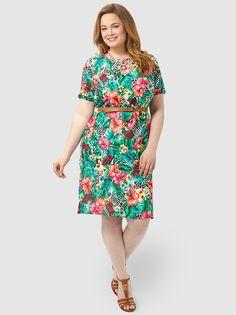 Hawaiian Floral Printed Shift Dress