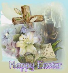 Happy Easter Christ is Risen religious easter flowers prayer cross spiritual sparkle happy easter happy easter. easter pictures easter blessing